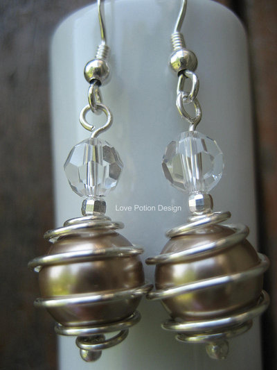 Orecchini in Argento 925 con Perle Swaroski. Sterling Silver Earrings with Spirals and Swaroski Crystals. Spedizione Gratuita.