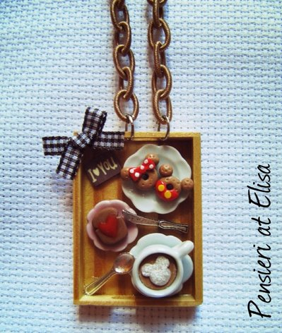 Collana vassoio legno rettangolare colazione Topolino e Minnie