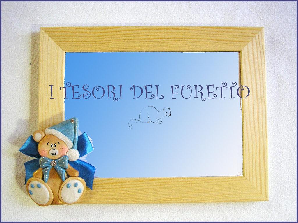 """Cornice Portafoto """"Fufuorsetto Azzurro"""" Bomboniera Idea Regalo Battesimo Nascita  Orsetto  fimo cernit kawaii"""