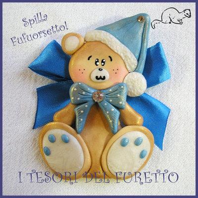 """Spilla Bomboniera Battesimo Nascita """"Fufuorsetto Azzurro"""" Orsetto  fimo cernit kawaii  economica magnete da frigo"""