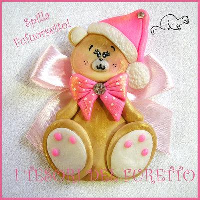 """Spilla Bomoniera Battesimo """"Fufuorsetto rosa"""" fimo cernit kawaii idea regalo bebè neomamma"""