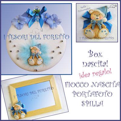 """Box Regalo Nascita """"Fufuorsetto Azzurro"""" fiocco nascita + portafoto + spilla fimo cernit kawaii natale"""