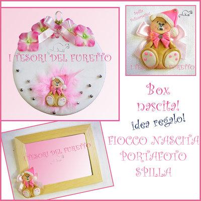 """Box Regalo Nascita """"Fufuorsetto rosa"""" fiocco nascita + portafoto + spilla fimo cernit kawaii natale"""