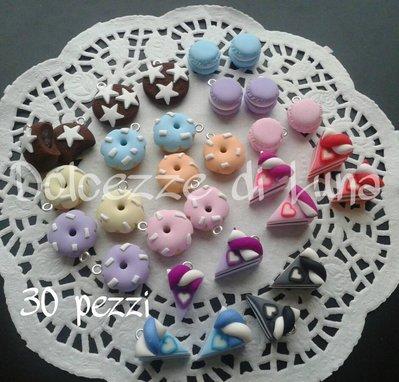 ( Cod. 103) lotto stock 30 biscotti in fimo fatti a mano per creare orecchini,bracciali,portachiavi