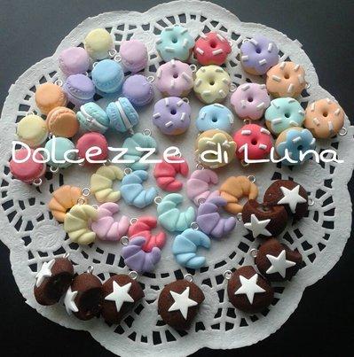 ( Cod. 102) lotto stock 50 biscotti in fimo fatti a mano per creare orecchini,bracciali,portachiavi