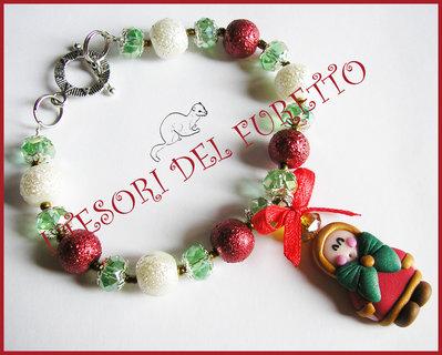 """Bracciale Natale """"Classic Con eschimese"""" Fimo rosso perle idea regalo cernit"""