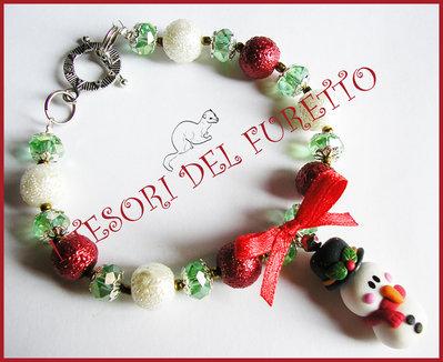"""Bracciale Natale """"Classic Con Omino di neve"""" Fimo rosso perle idea regalo cernit"""