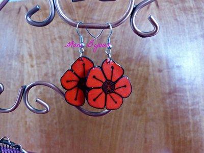 orecchini fiore rosso in fimo