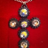 Ciondolo croce con 6 cristalli Swarovski