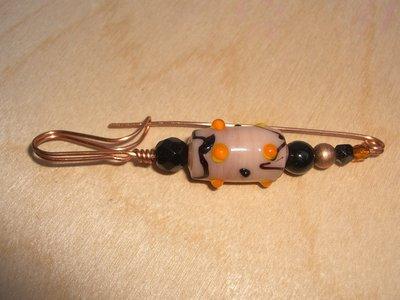Spilla da maglione in rame cristallo vetro resina e vetro Murano beige