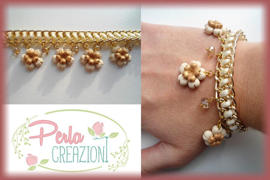 Bracciale Pastel Flowers & Gold - Beige