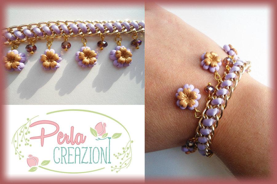 Bracciale Pastel Flowers & Gold - Lilla