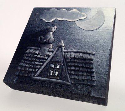"""Quadro piccolo """"il Gatto e la Luna"""""""