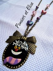 Collana cammeo bronzo Stregatto ''We're all mad here'' handmade in fimo