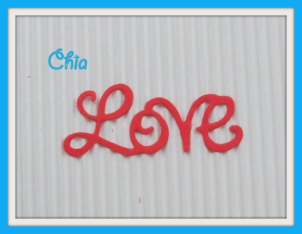 5 scritte LOVE fustellate in cartoncino