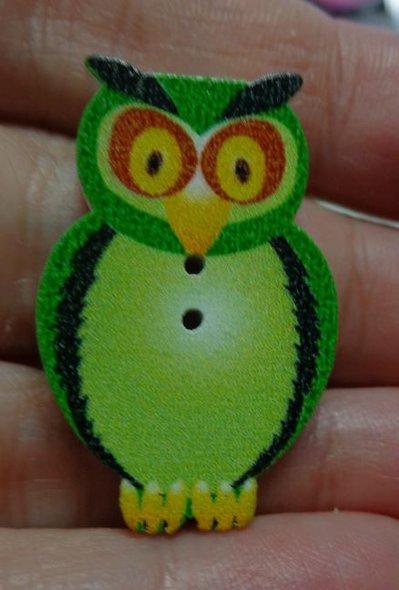 5 Bottoni in legno GUFO colore VERDE