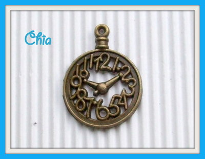 2 charms orologio bronzo 33x25mm