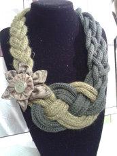 girocollo in lana  verde e verde