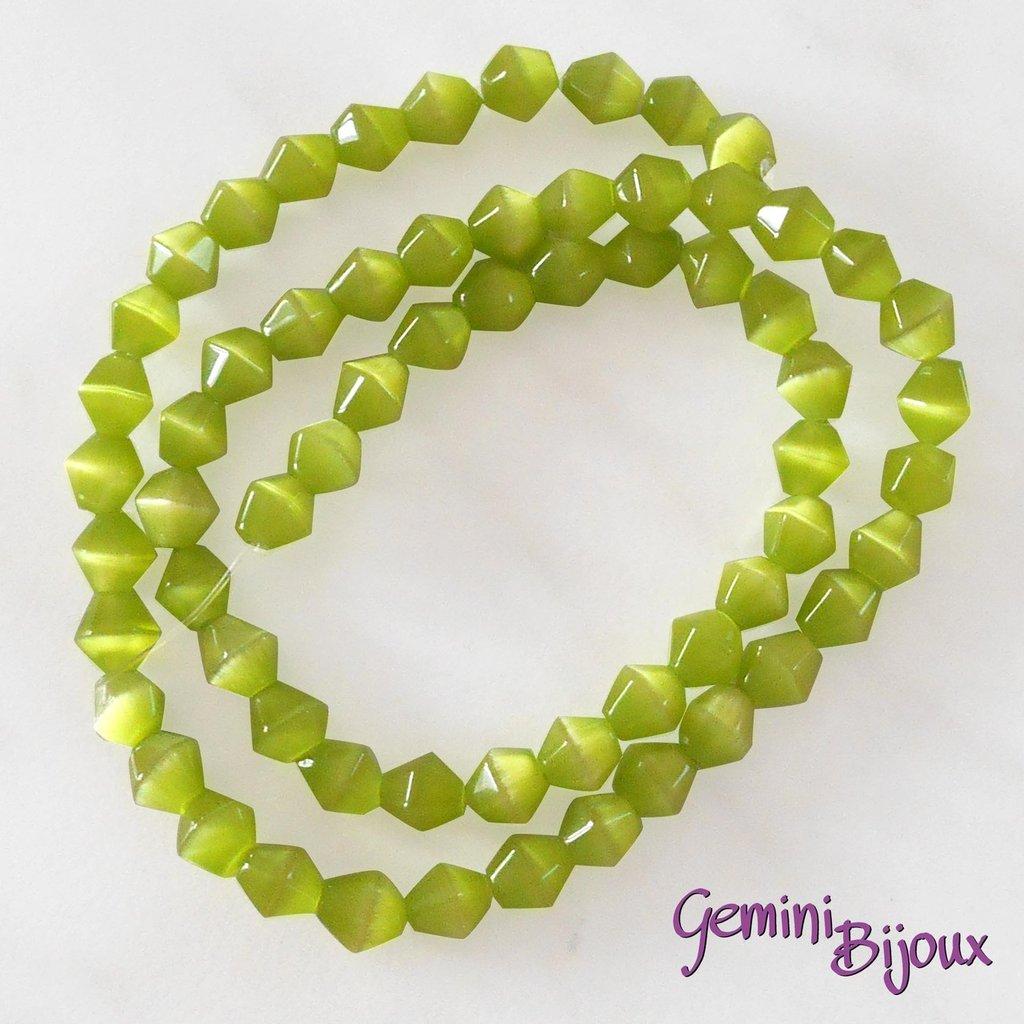 Fila 40 cm. Perle Occhi di Gatto Biconi verde lime mm. 6x7