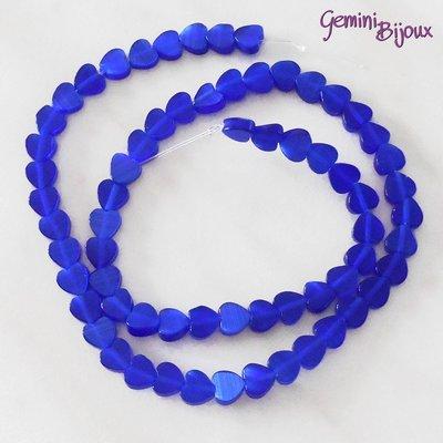 Fila 40 cm. Perle Occhi di Gatto Cuori blu elettrico mm. 6