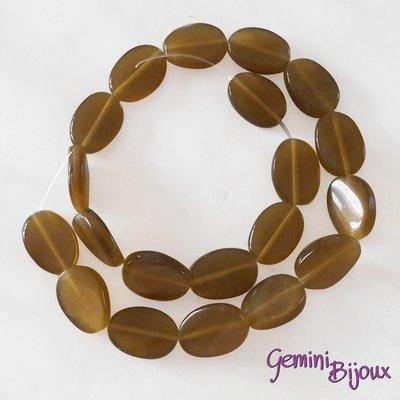 Fila 20 Perle Occhi di Gatto Olive piatte caramello mm. 18x12