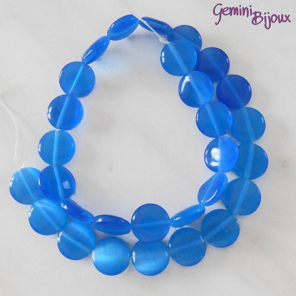 Fila 29 Perle Occhi di Gatto Tonde piatte azzurre mm. 12
