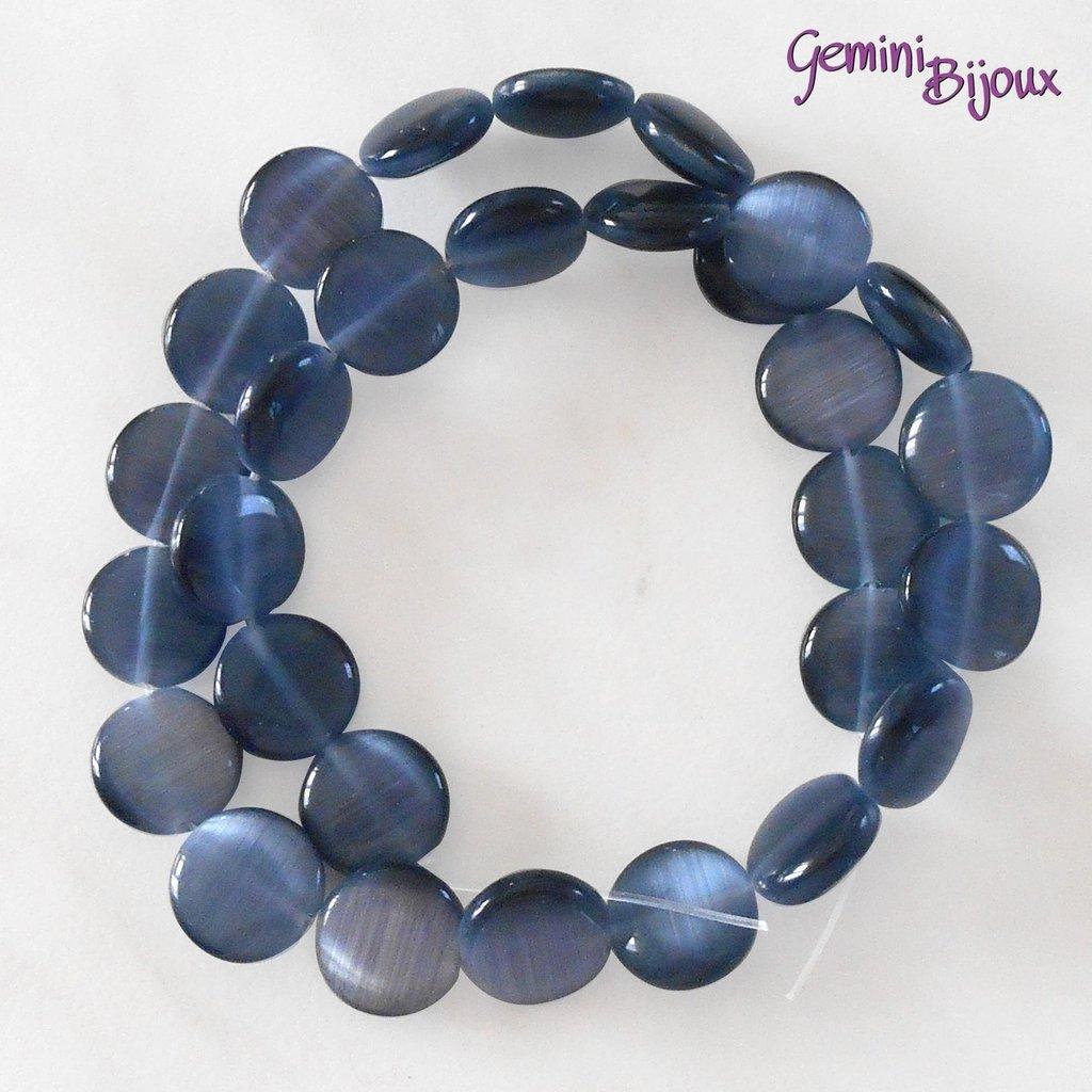 Fila 29 Perle Occhi di Gatto Tonde piatte grigio mm. 12