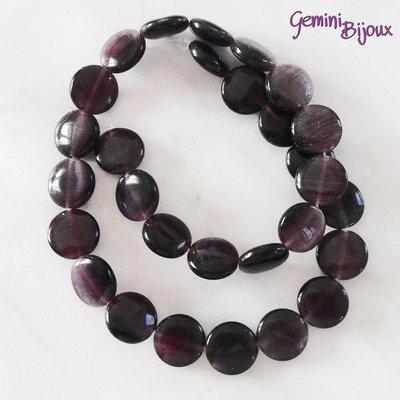 Fila 29 Perle Occhi di Gatto Tonde piatte viola mm. 12