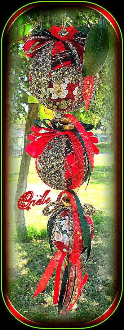 Natale - Addobbo di Natale in Patchwork - Palline di Natale Rosso e Oro