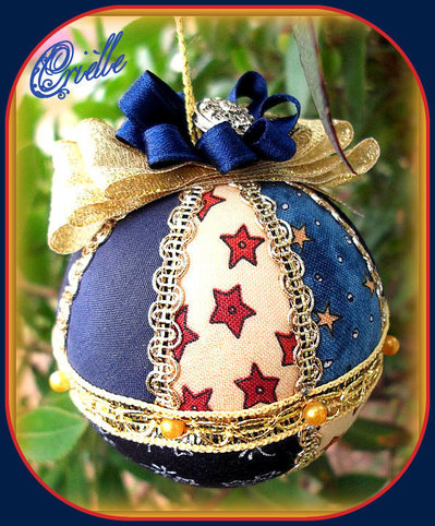Natale - Pallina di Natale in Patchwork - Natale Blu /Oro