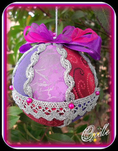 Natale - Pallina di Natale in Patchwork - Natale Rosso/Argento/Viola
