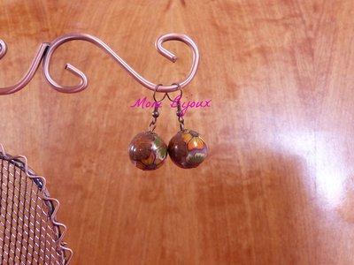 orecchini perle millefiori in fimo