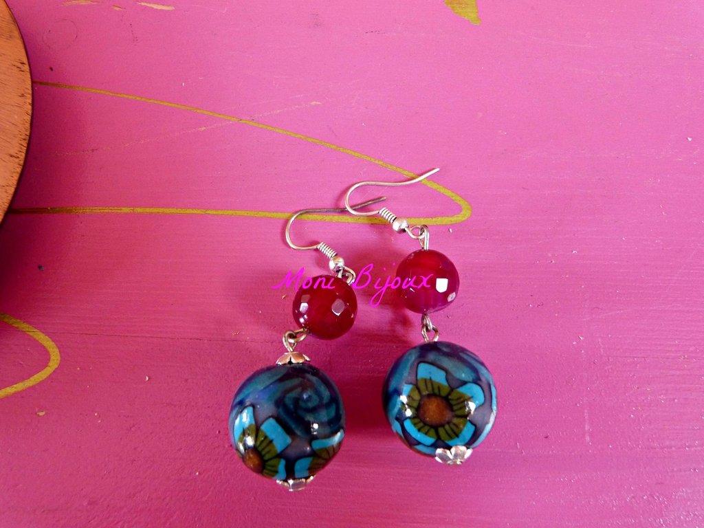 orecchini in fimo e pietra ciliegia