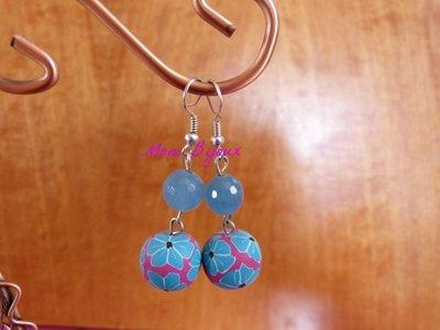 orecchini azzurri pendenti in fimo