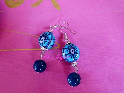 orecchini con perla fiore azzurro in fimo