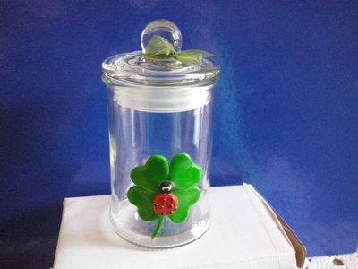Barattolo di vetro con coccinella