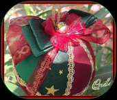 Natale - Pallina di Natale in Patchwork - Natale Bordeaux/Oro/Verde