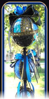 Natale - Addobbo di Natale in Patchwork - Tris di Palline di Natale Blu e Oro