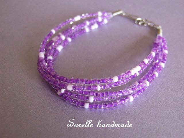 Braccialetto di perline viola