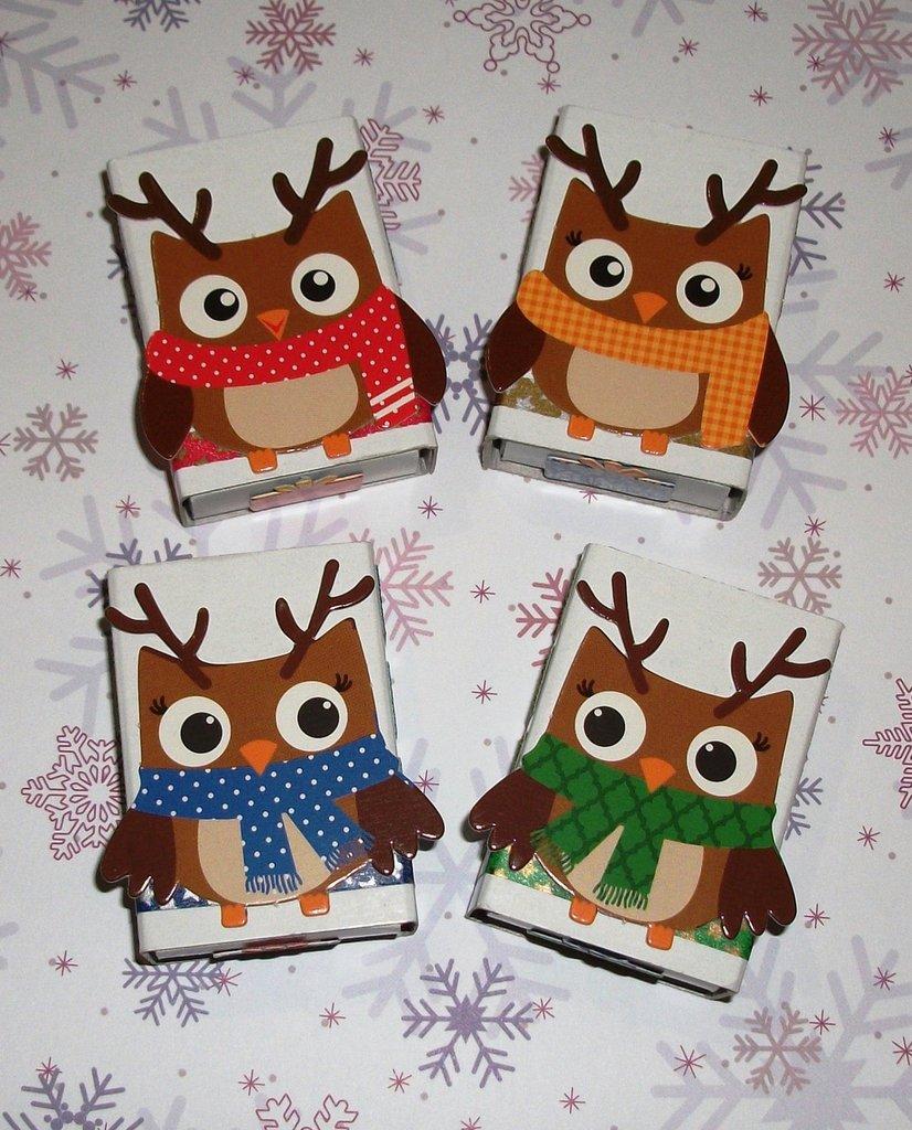 Scatoline decorate per Regali di Natale - Gufi Renne^^ - Scrapbooking&Packaging - Lotto (4pz)