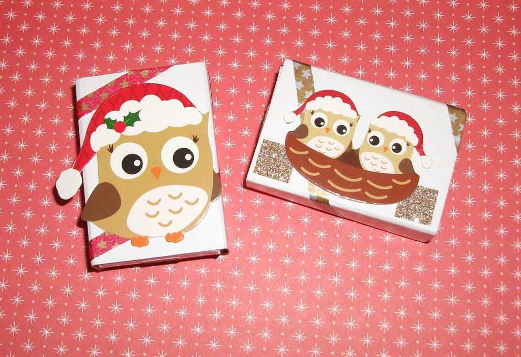 Scatoline decorate per Regali di Natale per Femminucce - Gufette^^ - Scrapbooking&Packaging - Lotto (2pz)