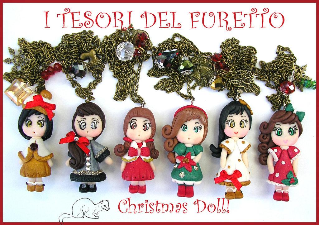"""OFFERTA! """"Christmas Doll""""  15 euro anzichè 20!   Collana Natale fimo cernit idea regalo  bambina"""