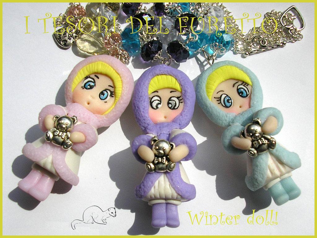 """Offerta """"Winter Doll""""  15 euro anzichè 20! Solo fino al 16 Novembre! collana Natale fimo cernit idea regalo"""