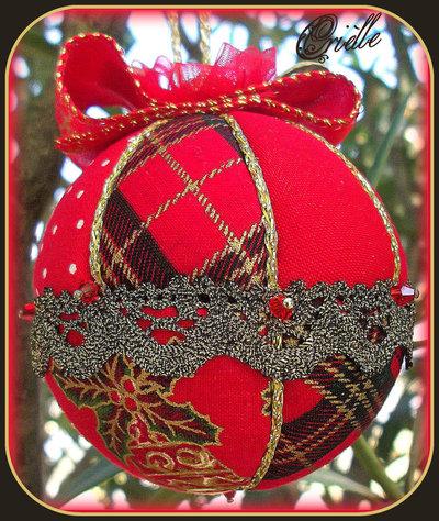 Natale -  Pallina di Natale in Patchwork - Rosso/Oro