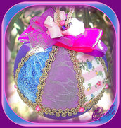 Natale - Pallina di Natale in Patchwork - Natale Rosa/Oro/Viola