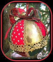 Natale - Pallina di Natale in Patchwork - Rosso/Oro/Verde