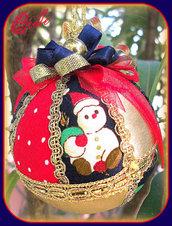 Natale -  Pallina di Natale in Patchwork - Rosso/Blu/Oro