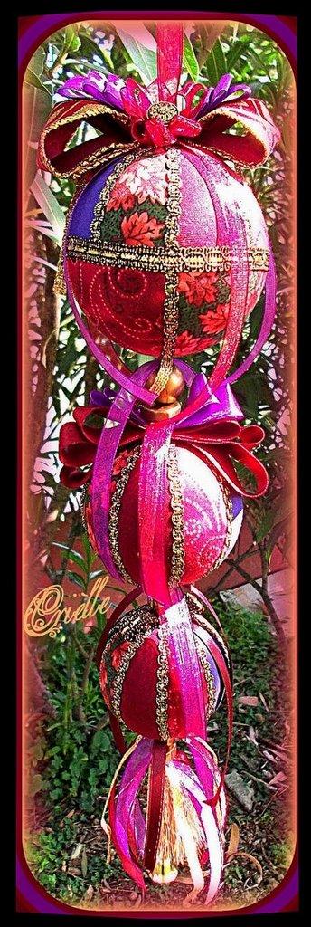 Natale - Addobbo di Natale in Patchwork - Tris Palline di Natale Rosso Bordeaux/Viola/Oro