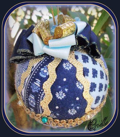 Natale -  Pallina di Natale in Patchwork - Blu/Oro