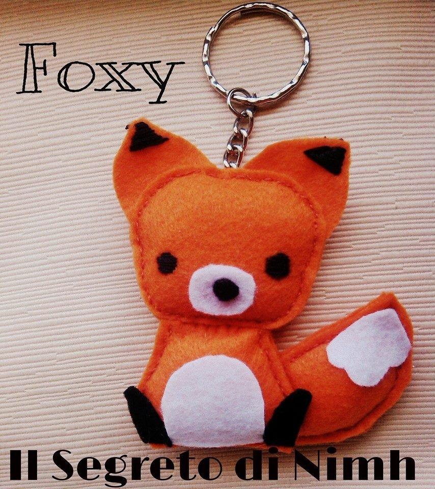 FOXY portachiavi in feltro, interamente fatto a mano!